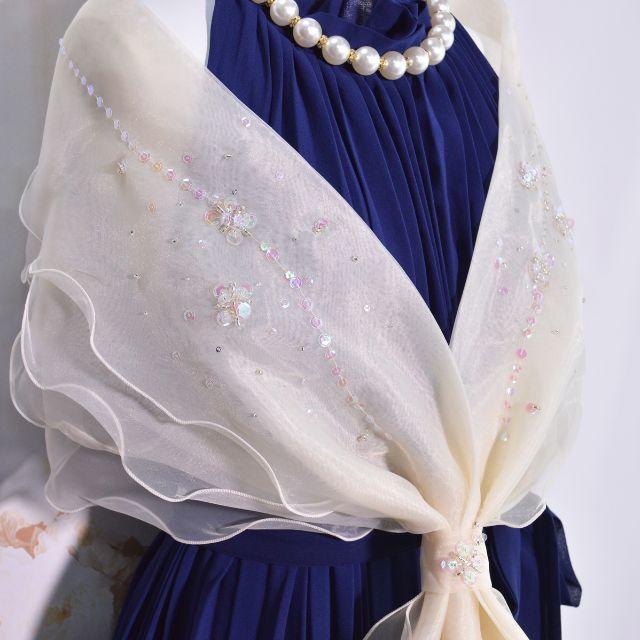新品♥オーガンジーショール ベージュ レディースのフォーマル/ドレス(その他)の商品写真