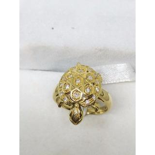 K18イエローゴールド 指輪 ダイヤモンド0.23ct  カメ 11.5号(リング(指輪))