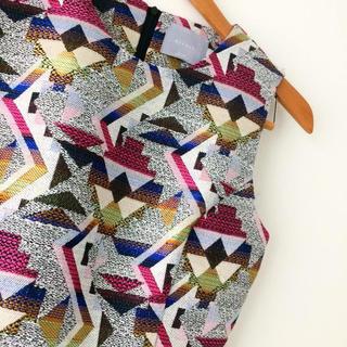 ディーホリック(dholic)の♥️原宿韓国系  幾何学模様  総柄刺繍ミニワンピドレス(ミニドレス)