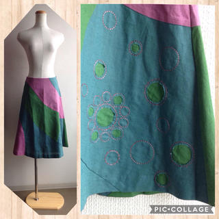 ホコモモラ(Jocomomola)の美品♪マルチカラーフレアースカート(ひざ丈スカート)