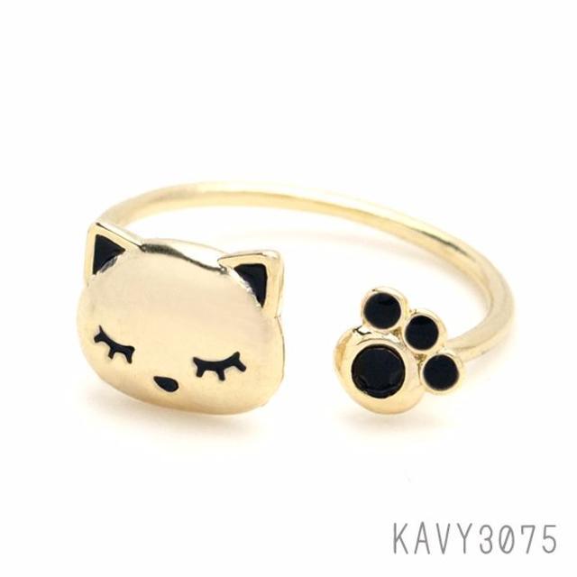 すやすやおやすみ♪ 居眠りネコ リング ブラック  KAVY3075 送料込み ハンドメイドのアクセサリー(リング)の商品写真