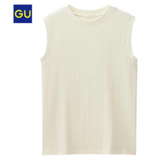 ジーユー(GU)のgu リブハイネックT ノースリーブ ホワイト 白(タンクトップ)
