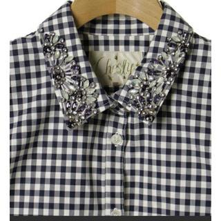 チェスティ(Chesty)のchesty ビジューシャツ ブラウス ギンガムチェック ネイビー(シャツ/ブラウス(長袖/七分))