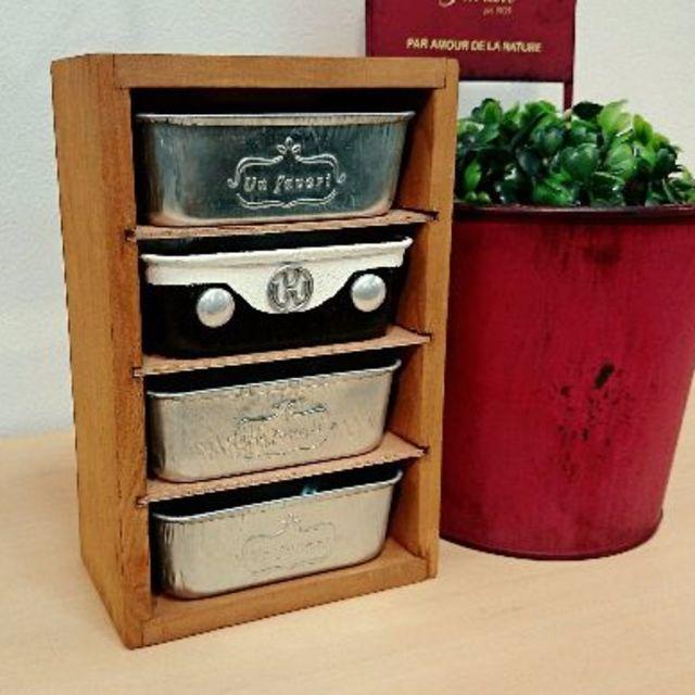 F549 newワーゲン缶アンティーク木製小物入れ 4段ラック 黒 ハンドメイドのフラワー/ガーデン(その他)の商品写真
