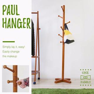 送料無料•新品】組み立て簡単、天然木製ポールハンガー(リビング収納)