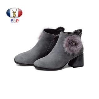 アーモンドトゥスエードラムレザーミンクファーポンポン付ブーツ裏薄起毛付き全3色 (ブーツ)