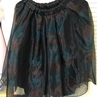 ファーファー(fur fur)のチェックオーガンジースカート(ひざ丈スカート)