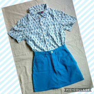 リュウスポーツ(RYUSPORTS)の♢ 夏 コーディネートセット 青い花柄シャツ & 青のショートスカート(セット/コーデ)