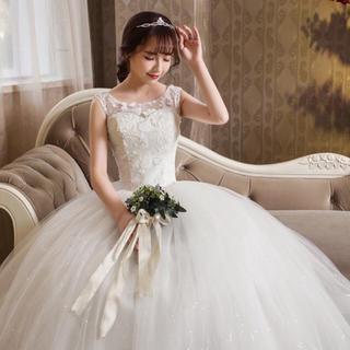【値下げ】ウエディングドレス 新品 xs 五号〜七号 プリンセスライン(ウェディングドレス)