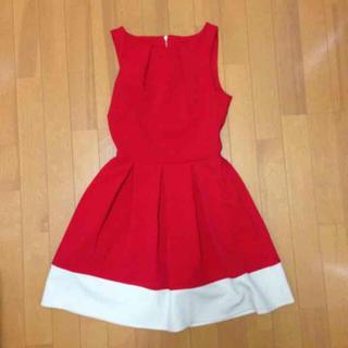 ドレス 赤 red バイカラー(ミニドレス)