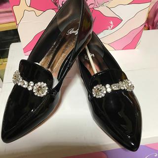 レディー(Rady)のRady☆ビジュービットフラットシューズ☆ブラック☆L(ローファー/革靴)