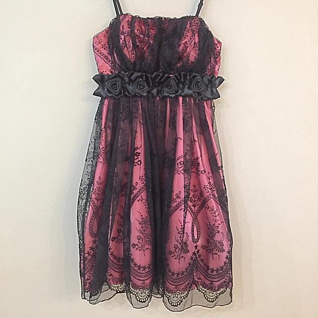 ピンク×黒チュール パーティドレス レディースのフォーマル/ドレス(ミディアムドレス)の商品写真