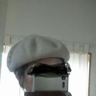 ムジルシリョウヒン(MUJI (無印良品))の着画あり☆無印☆ベレー帽☆アイボリー☆ウール☆(ハンチング/ベレー帽)