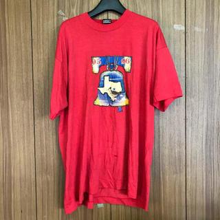 481 古着 プリント tシャツ メンズ XL レッド ビッグシルエット(Tシャツ/カットソー(半袖/袖なし))