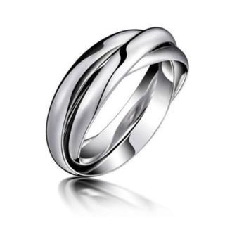 シンプルデザイン 三連リング 実測サイズ8号 トリプルリング 11号US6号(リング(指輪))
