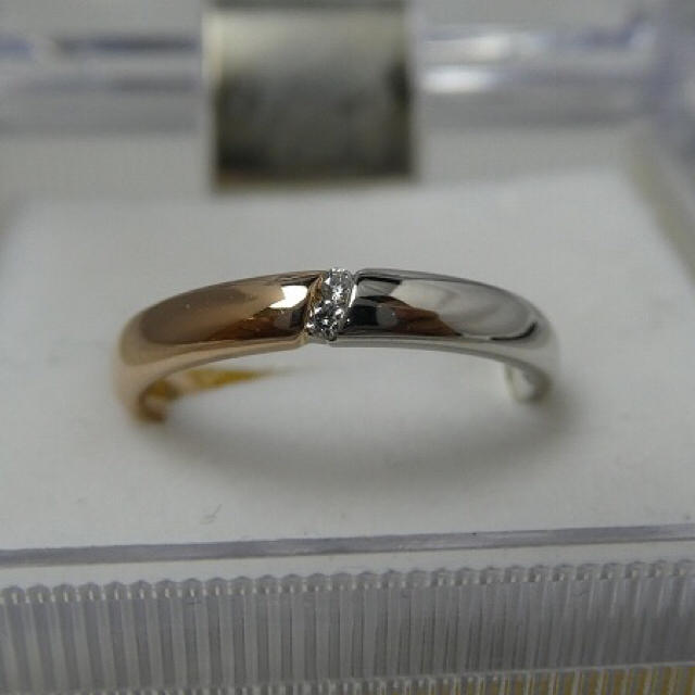 K18 Pt900 コンビ ダイヤモンド 0.02ct リング 8号 指輪 レディースのアクセサリー(リング(指輪))の商品写真