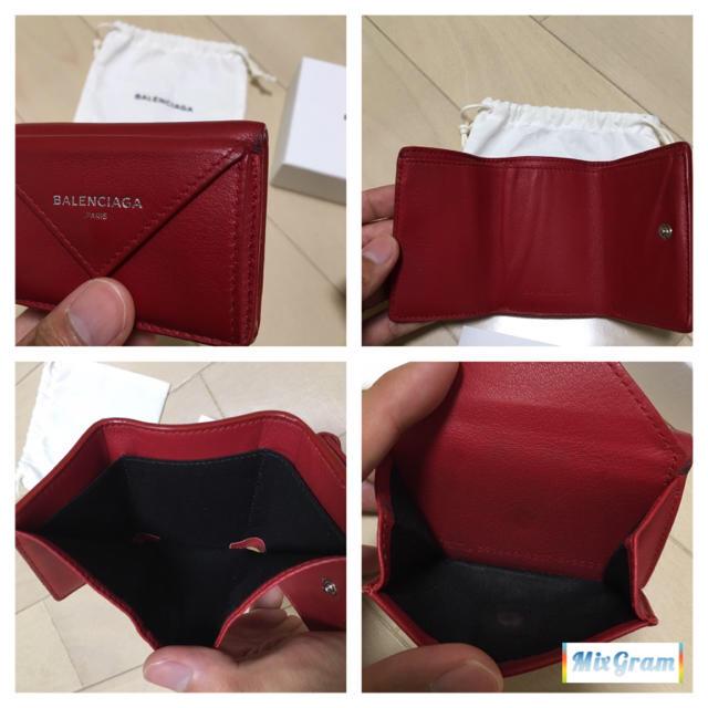 buy popular 83580 8e2d5 バレンシアガ三つ折りペーパーミニウォレット赤ミニ財布BALENCIAGA
