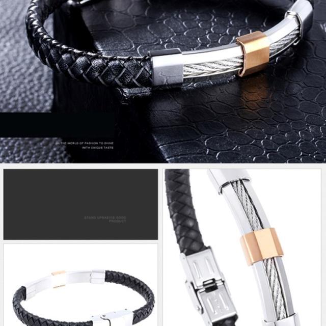 精良SUS316L 革 黒 銀 金 編込みブレスレット 幅8mm円21cm18g メンズのアクセサリー(ブレスレット)の商品写真