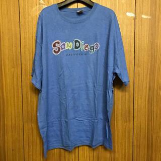 400 古着 プリント tシャツ メンズ XLサイズ ブルー ビッグシルエット(Tシャツ/カットソー(半袖/袖なし))