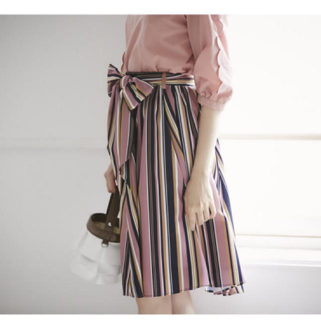 tocco(トッコ)の【専用ページ】新品タグ付🎀マルチストライプスカート ダークピンク レディースのスカート(ひざ丈スカート)の商品写真