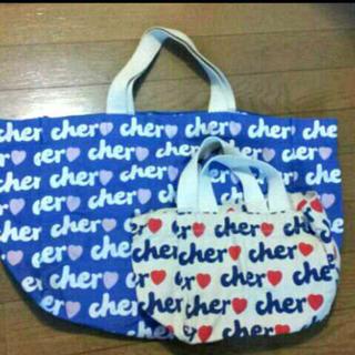 シェル(Cher)の激安!美品!送料込!Cherシェルトートバッグ2個セット大小ブルーホワイト(トートバッグ)