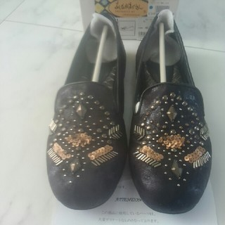 アシナガオジサン(あしながおじさん)のオペラカッターシューズ 黒(ローファー/革靴)