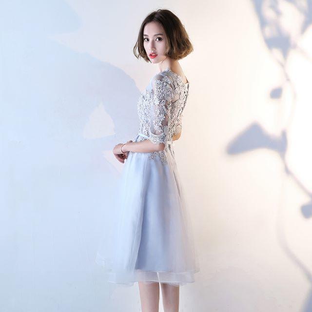 パーティードレス 結婚式 ワンピース 袖あり 刺繍 グレー レディースのフォーマル/ドレス(ウェディング