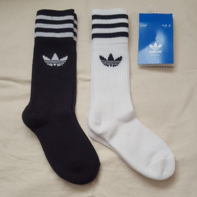 adidas(アディダス)の新品 アディダス 3本ライン ハイソックス レディース 白 黒 靴下 ソックス レディースのレッグウェア(ソックス)の商品写真