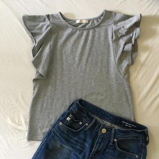 エージー(AG)のグレー♡フリルTシャツ♡(Tシャツ(半袖/袖なし))