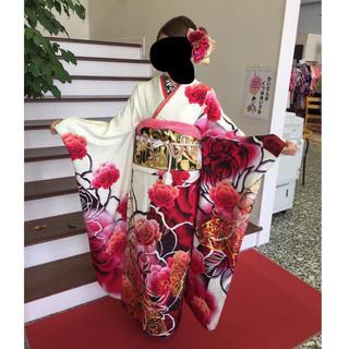 振袖 フルセット ageha 白 黒 ピンク(振袖)