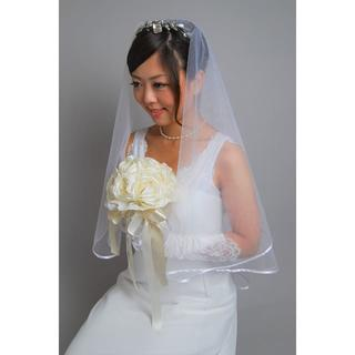 新品♡シンプルなマリアベール*パイピング*ホワイト*ウエディング(ウェディングドレス)