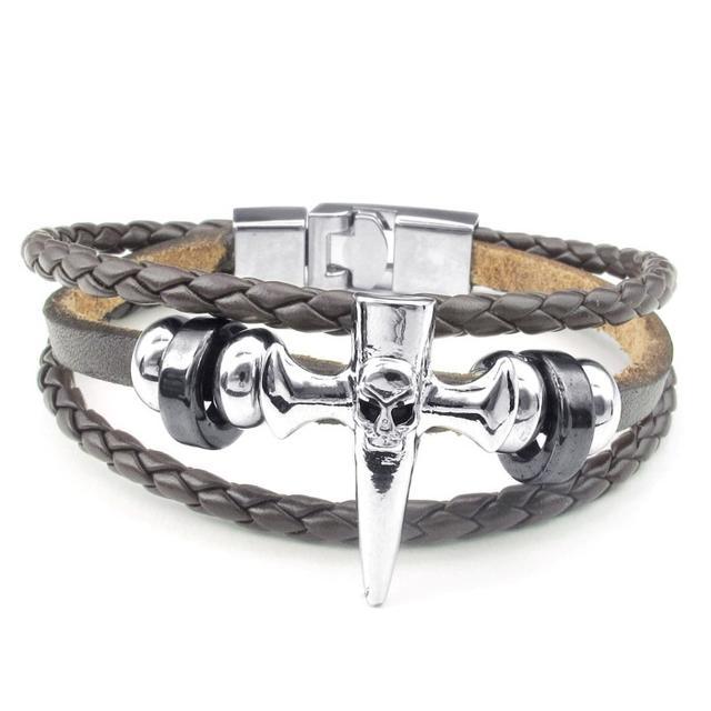 高品質皮革 褐色 シルバー銀 釘x髑髏 3連 ブレスレット 送料込 メンズのアクセサリー(ブレスレット)の商品写真