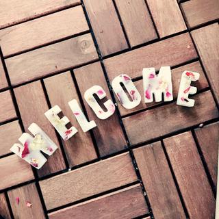 お花をたっぷり添えたwelcome♡アロマの香りのオブジェ(アロマ/キャンドル)