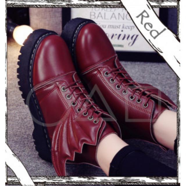 ★ハロウィン★ 編み上げ コウモリ ショートブーツ ワインレッド! レディースの靴/シューズ(ブーツ)の商品写真