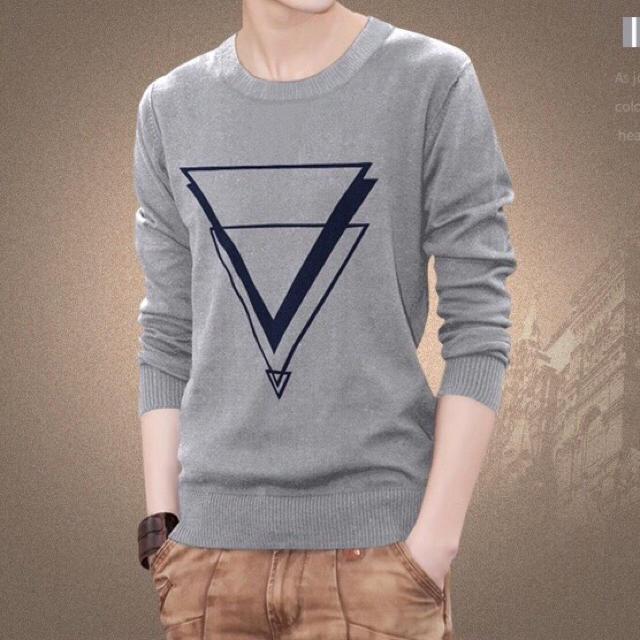 メンズ ニットセーター 長袖 薄手/クルーネック グレー メンズのトップス(ニット/セーター)の商品写真