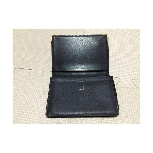 dunhillブラックレザー×ゴールド金具メンズカードケース メンズのファッション小物(名刺入れ/定期入れ)の商品写真
