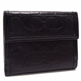 コーチ(COACH)のA312 中古 コーチ シグネチャー Wホック レザー 二つ折り財布 (財布)