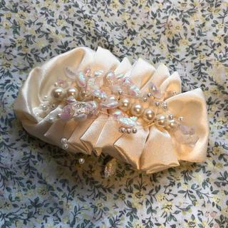 ロンハーマン(Ron Herman)のサテンリボン パール バレッタ ヘッドドレス 結婚式 ウェディング 二次会 花嫁(ヘッドドレス/ドレス)