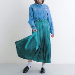 4c2b62c8e7177e メルロー(merlot)のmerlot メタリックプリーツミモレ丈スカート(ロングスカート)