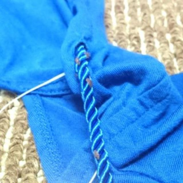 レディース 半袖 無地 フード付カットソー 背中あき M #ホワイト&ブルー レディースのトップス(カットソー(半袖/袖なし))の商品写真