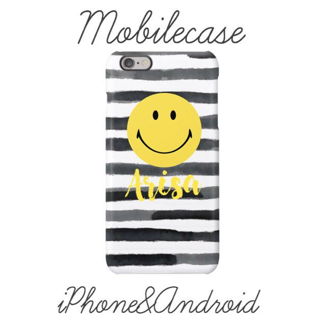 かわいい iphone8plus ケース シリコン | 名入れ可能♡ボーダースマイリー柄スマホケース♡iPhone以外も対応機種多数ありの通販 by welina mahalo|ラクマ