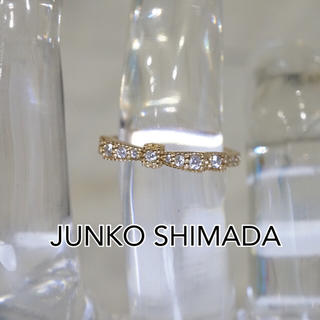 ジュンコシマダ(JUNKO SHIMADA)の鑑定済 JS ジュンコ シマダ K18 天然ダイヤモンド19石 リボンリング(リング(指輪))