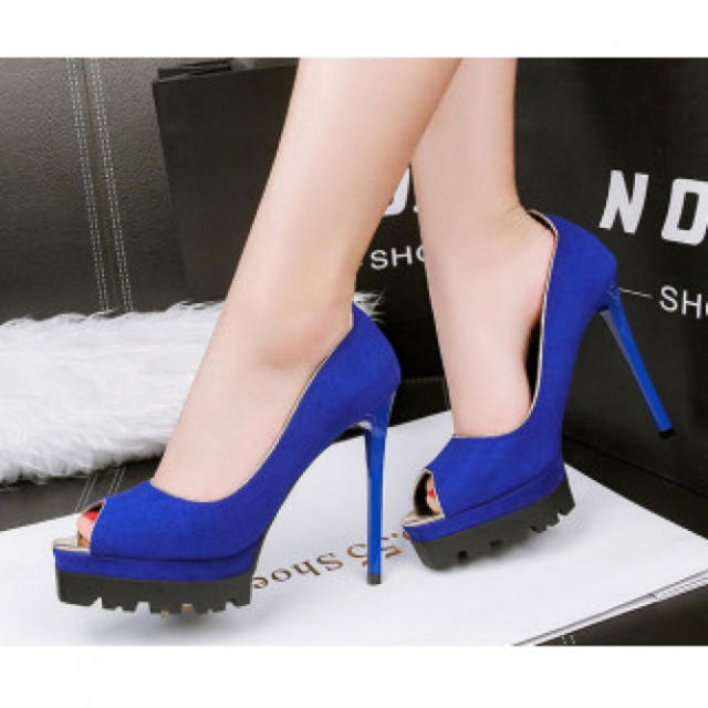 【新作】履きやすい ハイヒール パンプス 高級感 ブルー レディースの靴/シューズ(ハイヒール/パンプス)の商品写真