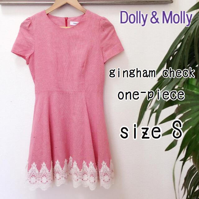 Dolly&Molly(ドリーモリー)のDolly&Molly ギンガムチェックレースワンピース 赤 Sサイズ半袖刺繍 レディースのワンピース(ミニワンピース)の商品写真