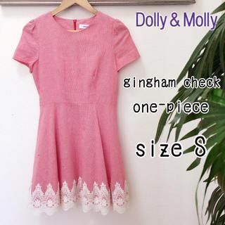 ドリーモリー(Dolly&Molly)のDolly&Molly ギンガムチェックレースワンピース 赤 Sサイズ半袖刺繍(ミニワンピース)