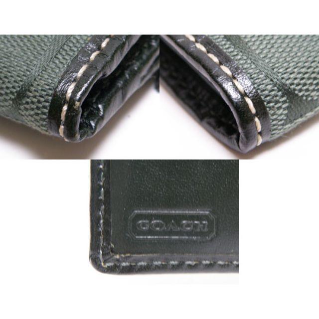 COACH(コーチ)の本物 COACH コーチ 二つ折り財布 シグネチャー柄 緑系   レディースのファッション小物(財布)の商品写真