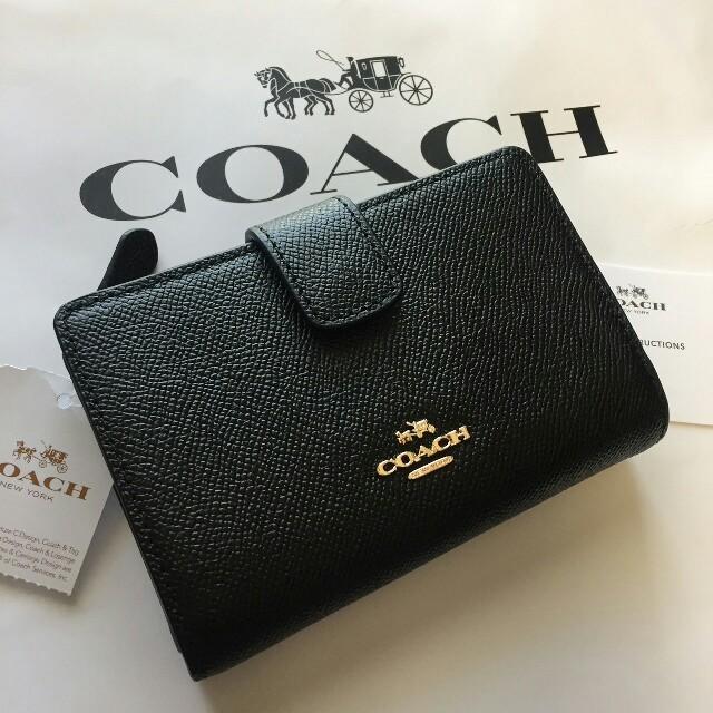 COACH(コーチ)の【新品】COACH (コーチ)☆ブラック レザー二つ折り財布 レディースのファッション小物(財布)の商品写真
