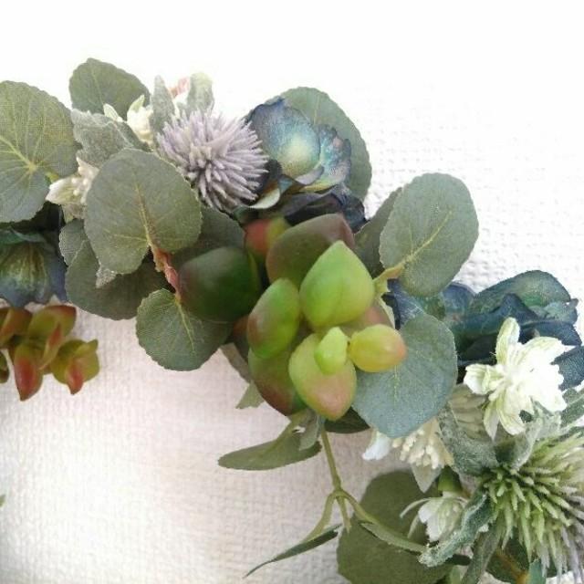 リース グリーンリース 造花 多肉植物 玄関 フラワー ハンドメイドのフラワー/ガーデン(リース)の商品写真