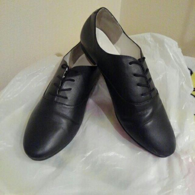 GU(ジーユー)のGU オックスフォードシューズ 黒 レディースLサイズ 紐靴 レディースの