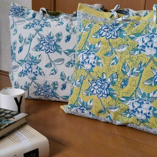 新品 Soma クッションカバー ライムグリーン&ホワイト 花柄 送料込